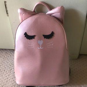 New Betsey Johnson pink cat sleepy backpack